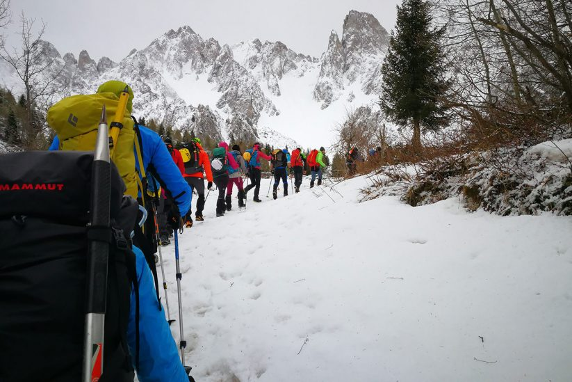 Da Rifugio Bagozza al Cimone della Bagozza in ambiente invernale.
