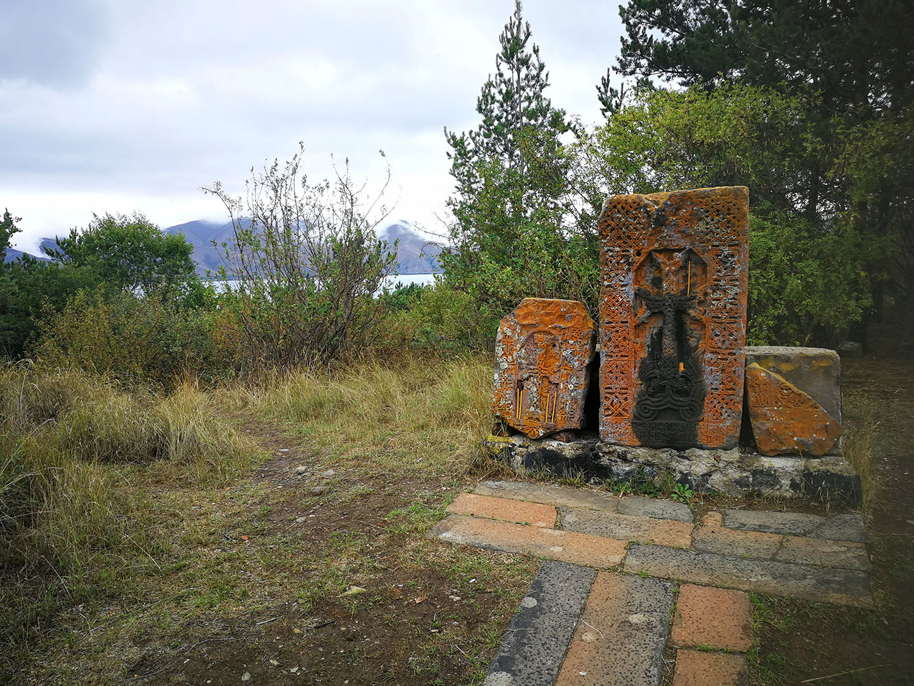 sevan lake cross stone
