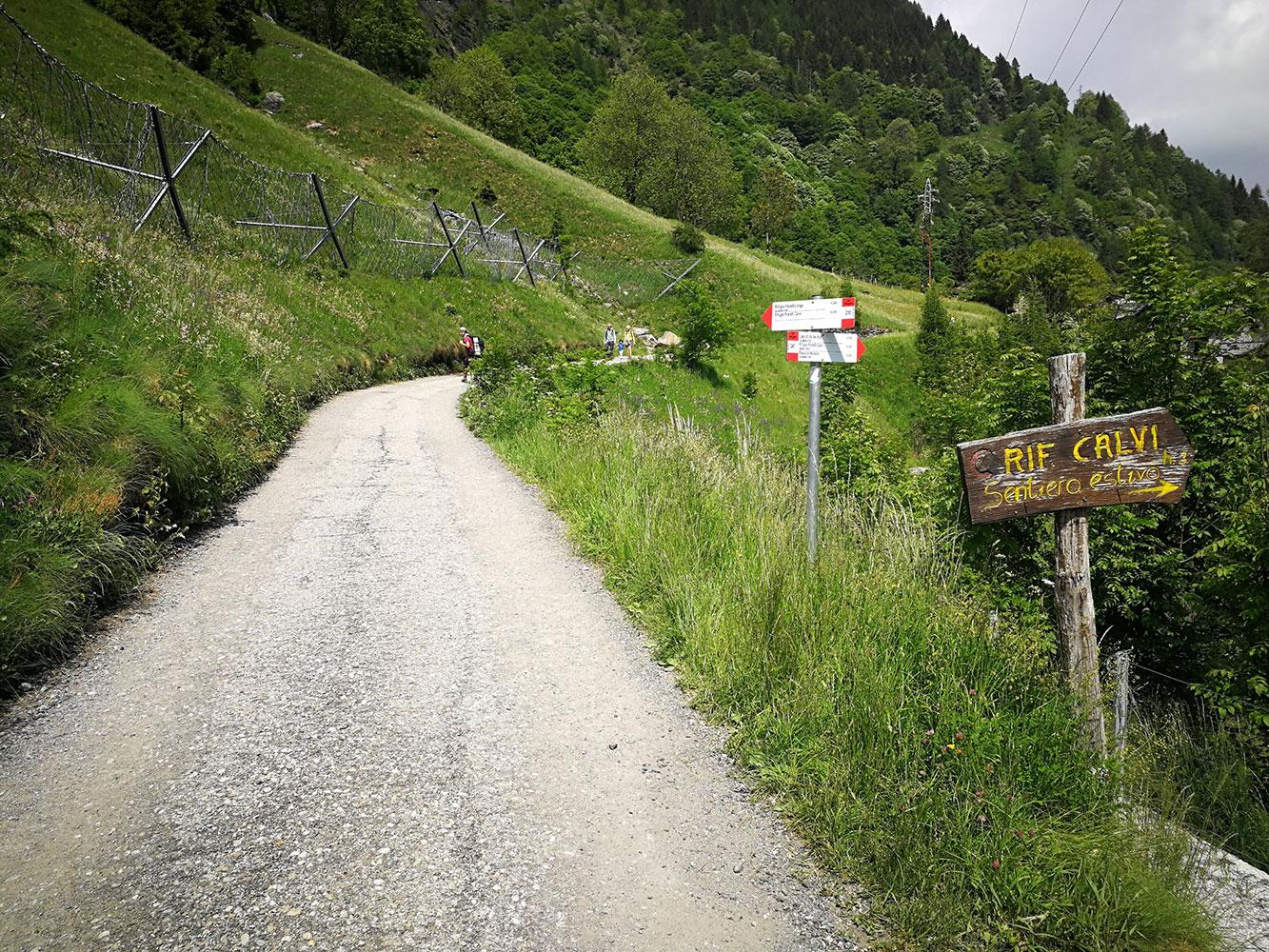 sentiero per rifugio calvi e longo
